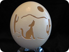 coyote on ostrich egg